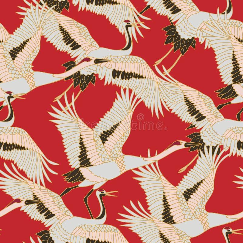 Japanese japanese stork or pattern. Oriental - japanese - seamless pattern. Crane, stork, heron. Flying heron bird. Red stock illustration