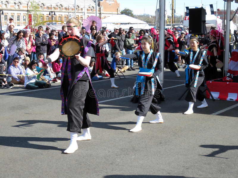 Japanese Street Festival Dancing stock images