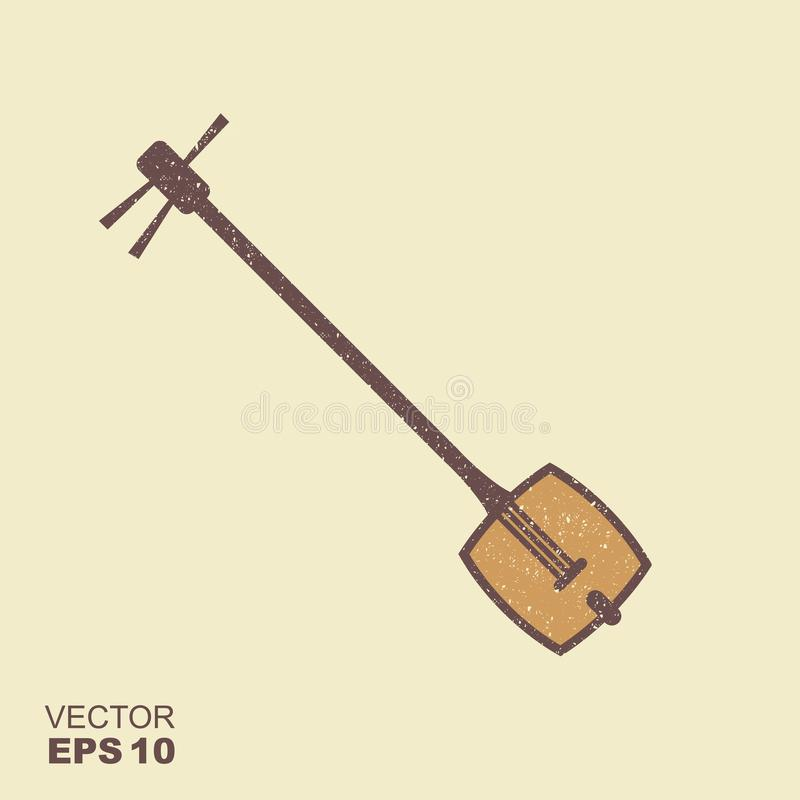 Japanese string music instrument. Shamisen icon with scuffed effect in a separate layer. Japanese string music instrument. Samisen or sangen vector icon with royalty free illustration