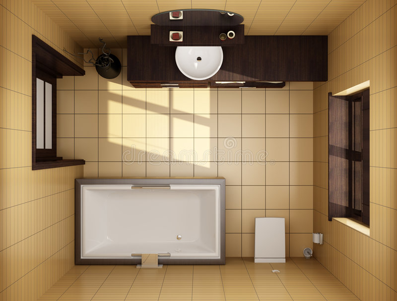 Japanese style bathroom top view stock image image of Top view of bathroom