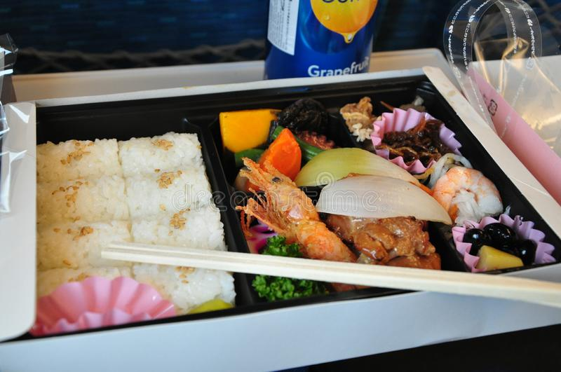 Japanese style boxed lunch stock photo