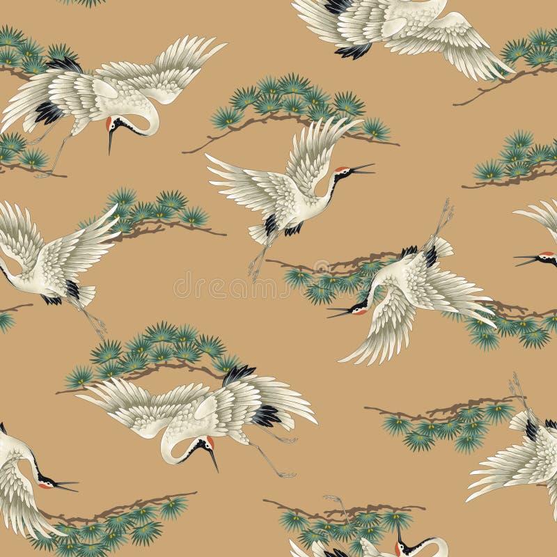 Japanese style crane pattern royalty free illustration