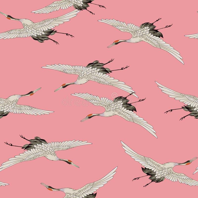Japanese style crane Seamles pattern royalty free illustration