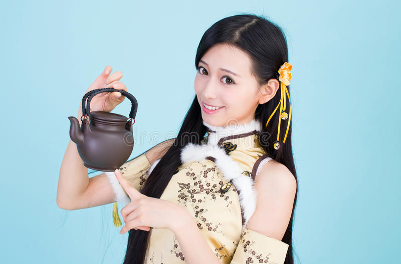 Japanese style cute school girl indoor home woman royalty free stock photography