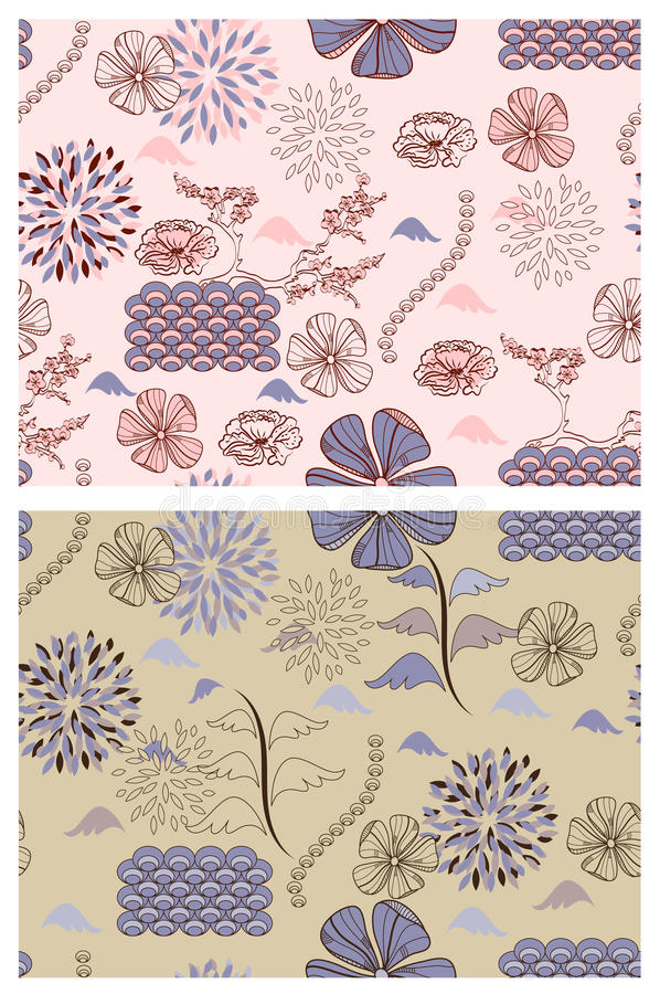 Download Japanese Style  Floral Patterns Stock Vector - Image: 18168027