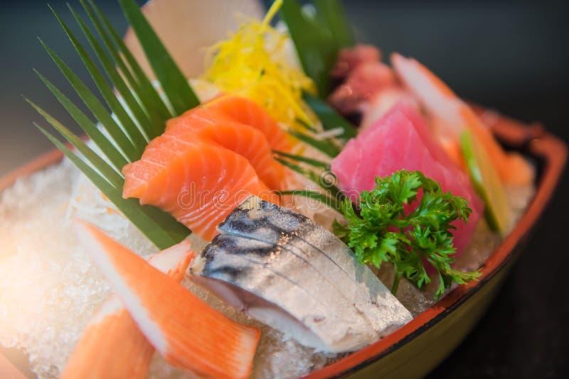 Japanese style food .fresh raw fish mixed ,sashimi stock photo