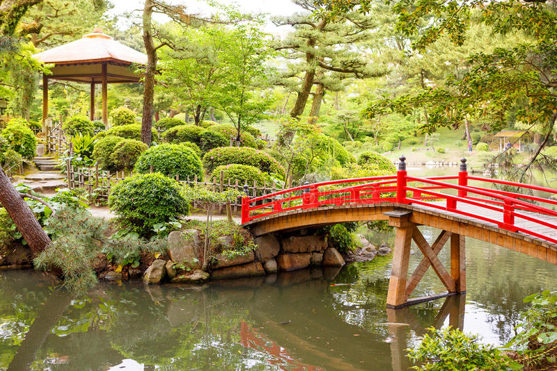 Japanese style garden in Hiroshima, Japan stock photos