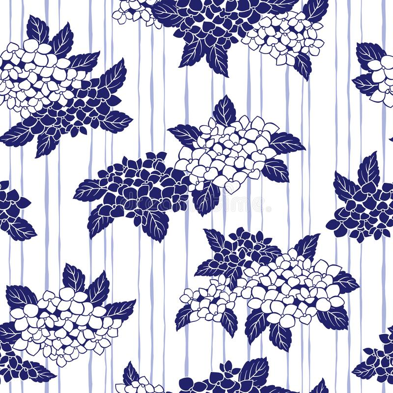Japanese style hydrangea pattern,. Design of a Japanese style hydrangea, This painting continues repeatedly royalty free illustration