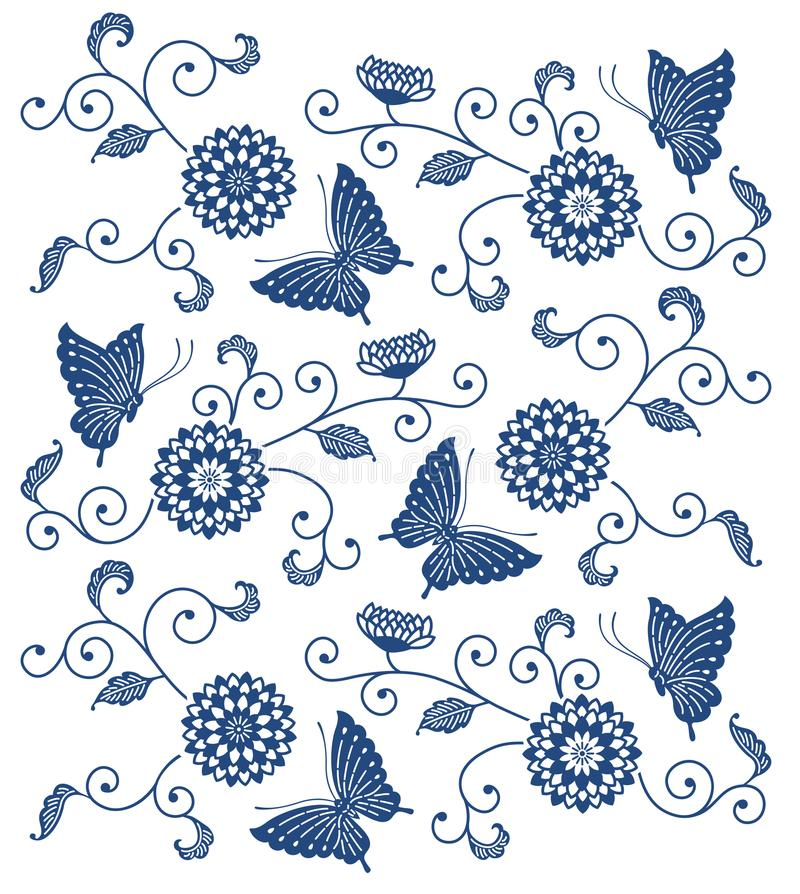 Japanese style indigo blue floral pattern with butterflies stock illustration
