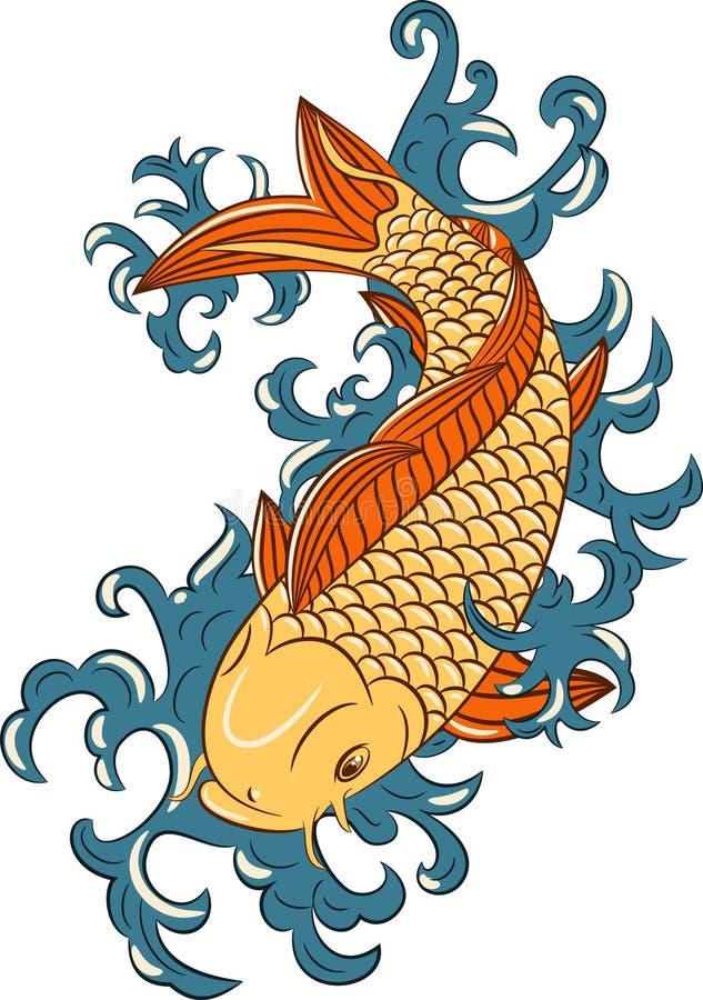 Japanese style koi (carp fish) stock photo