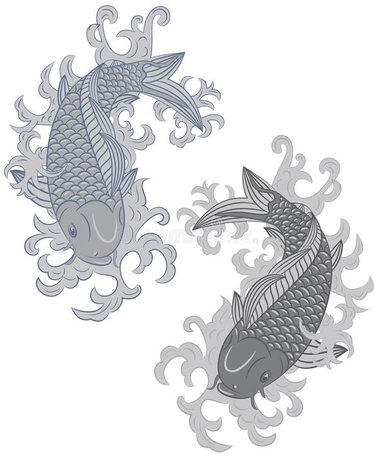 Japanese style koi (carp fish) stock photos