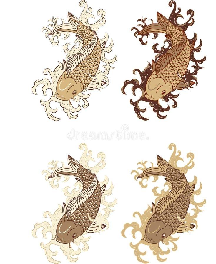 Japanese style koi (carp fish) royalty free stock photo