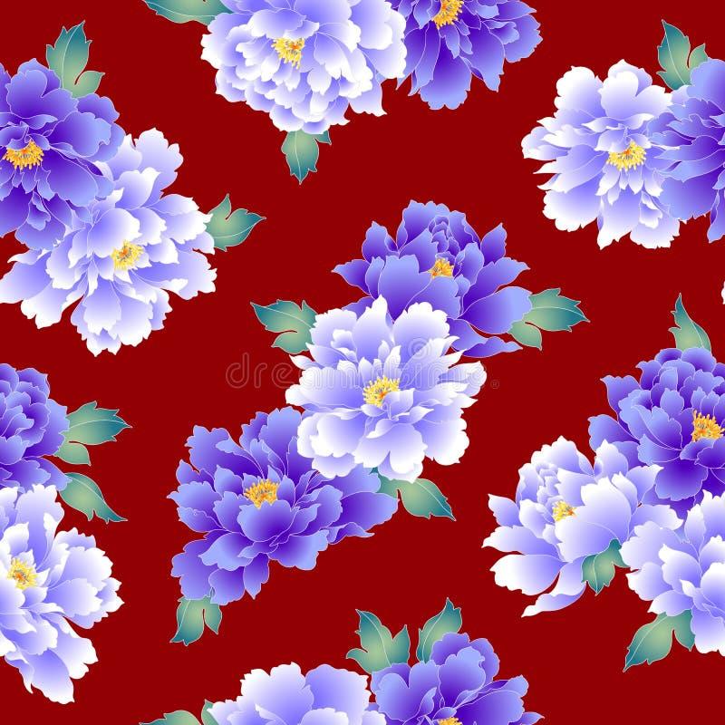 Japanese style peony pattern vector illustration