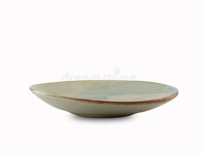 Japanese style plate or vintage dish isolated on white background. Japanese style plate or vintage dish isolated on white background and have clipping paths royalty free stock photography