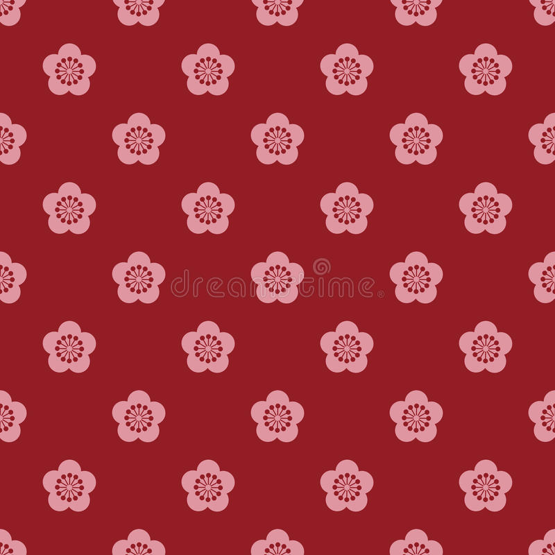 Japanese style plum blossom pattern stock illustration