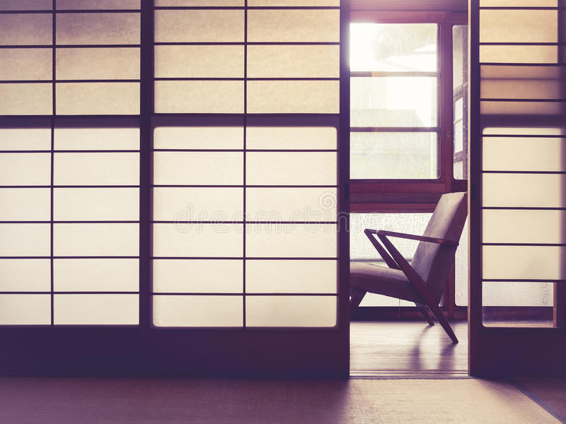 Japanese style room Interior with retro chair Vintage tone royalty free stock photography