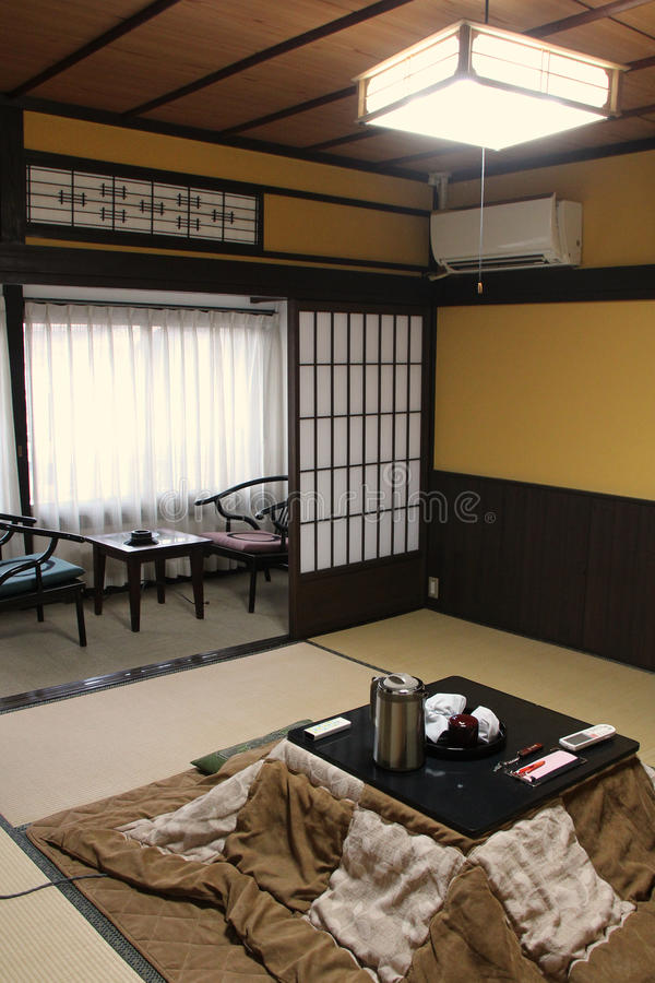 A japanese style room was fitted out in an inn in Amanohashidate (Japan). A japanese style room was fitted out in an inn in Amanohashidate, Japan, on April 5 stock photo