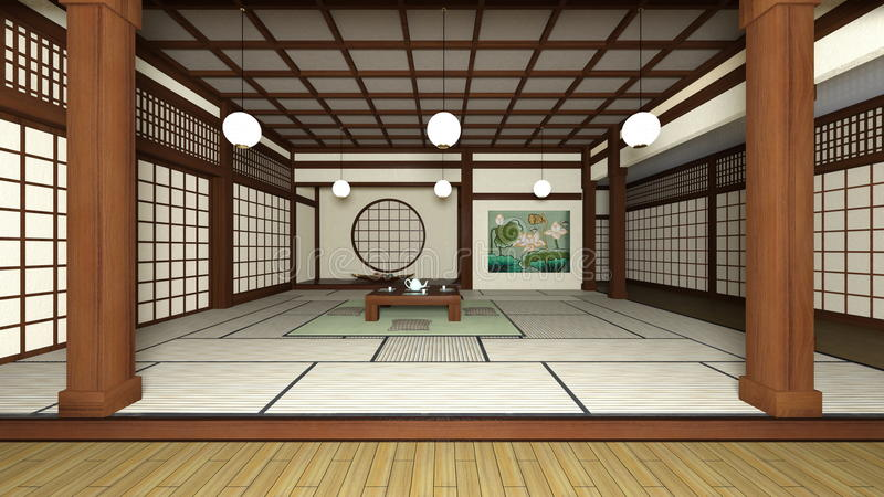 Japanese style rooms. 3D CG rendering of Japanese style rooms stock illustration