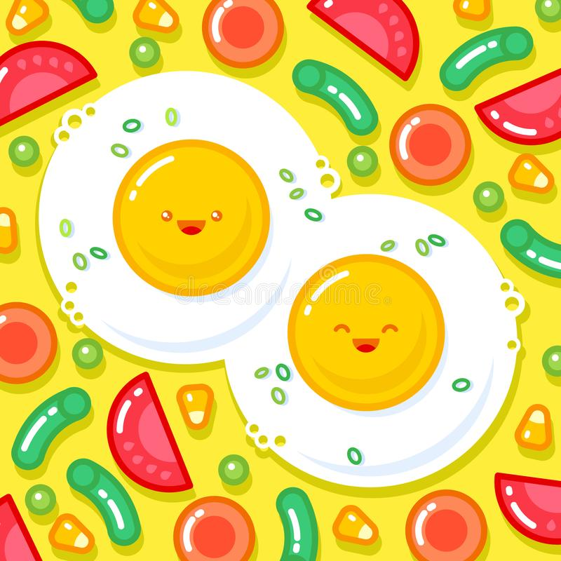 Japanese style smiled ice cream illustration. Colorful ice cream on a cone. vector illustration