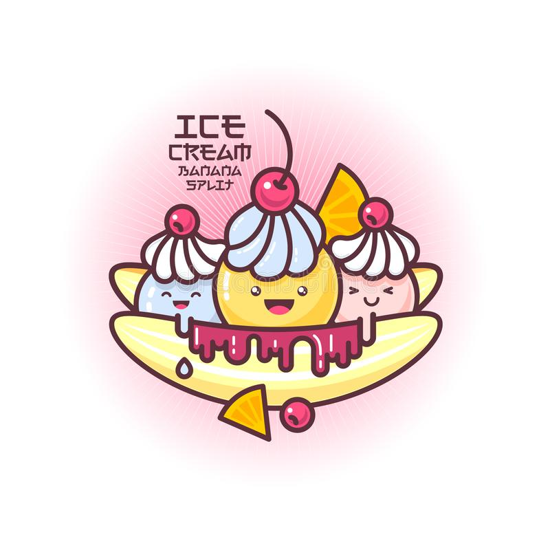 Japanese style smiled ice cream illustration. Banana split ice cream. Colorful ice cream on a banana. royalty free illustration