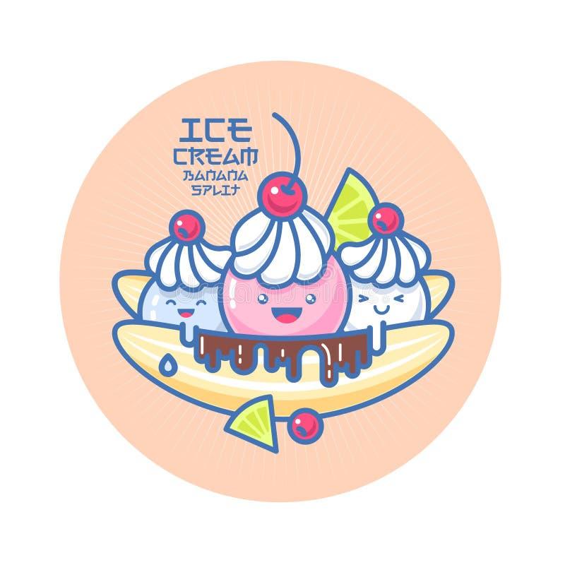 Japanese style smiled ice cream illustration. Colorful ice cream on a banana. stock illustration