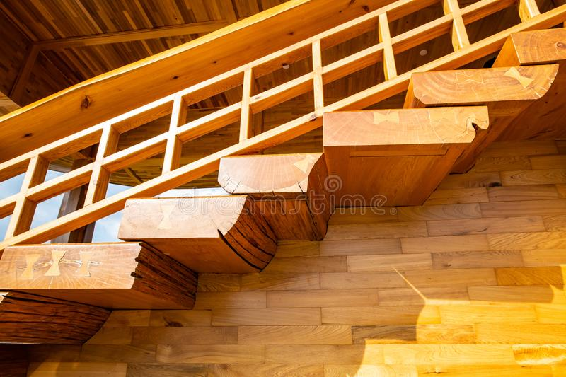 Japanese style stair in Hinoki land. Thailand royalty free stock photography