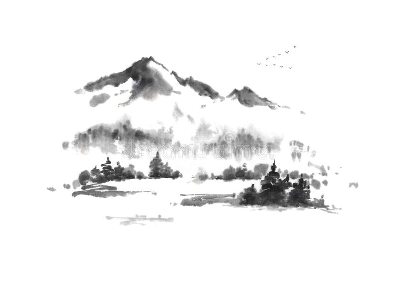 Japanese style sumi-e autumn in mountains ink painting. Great for greeting cards or texture design vector illustration