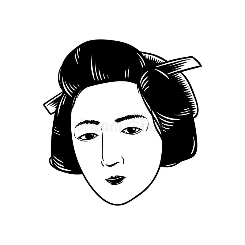 Japanese style woman traditional isolated stock illustration