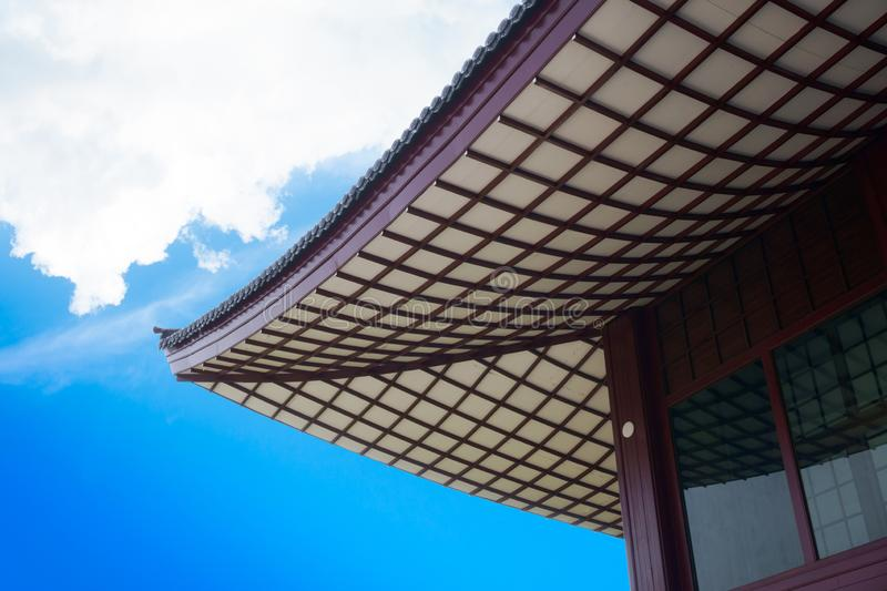 Japanese style wood roof pattern on blue sky ,Japanese style building. Japanese style wood roof pattern on blue sky background,Japanese style building royalty free stock photos