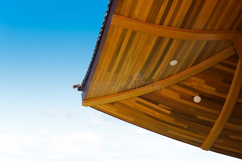 Japanese style wood roof pattern on blue sky background,Japanese style building. Japanese style wood roof pattern on blue sky background stock images
