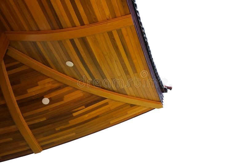 Japanese style wood roof pattern isolated on white background. Japanese style building royalty free stock photo