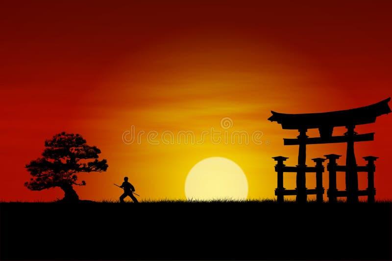 Japanese Sunset. Japanese Samurai fighter silhouette during perfect sunset