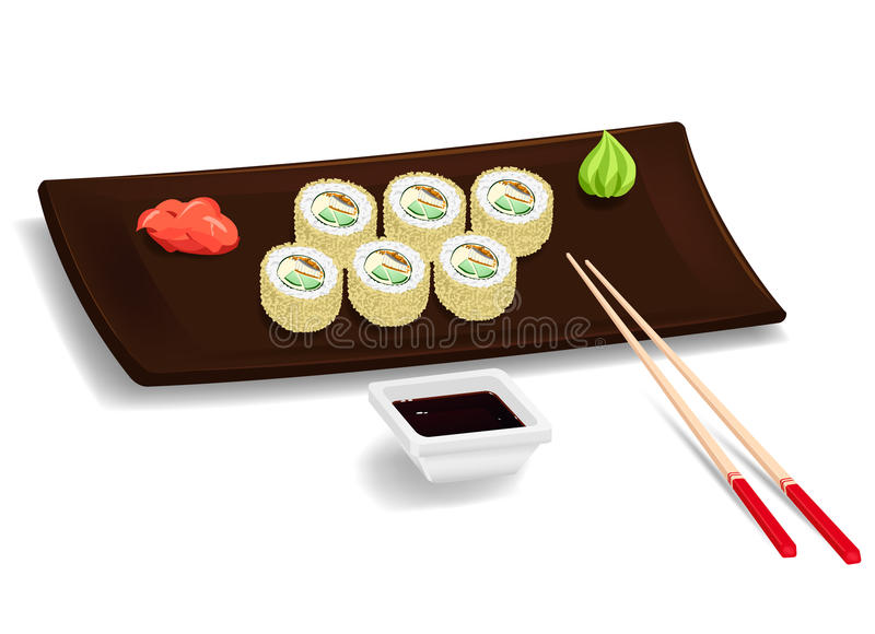 Japanese sushi with chopsticks. Traditional japanese food. Maki sushi on the plate with chopsticks, wasabi, ginger and soy. elements. Vector color cartoon vector illustration