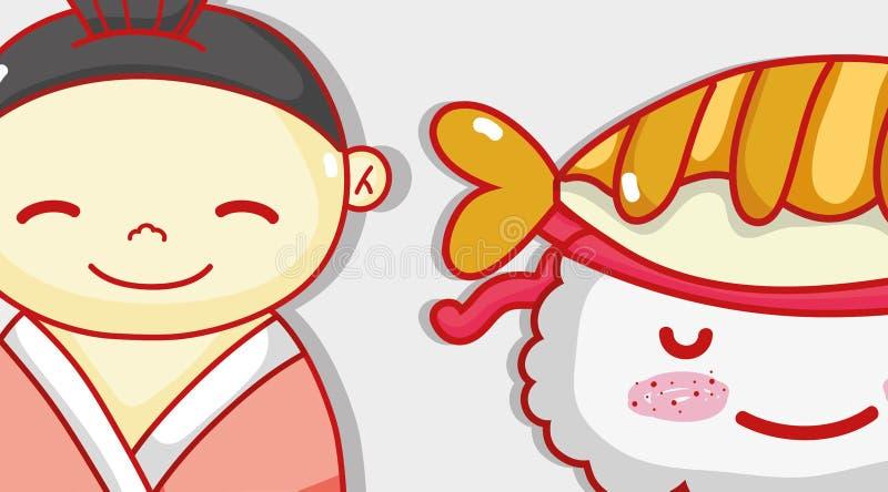 Japanese and sushi cute kawaii cartoon. Vector illustration graphic design vector illustration
