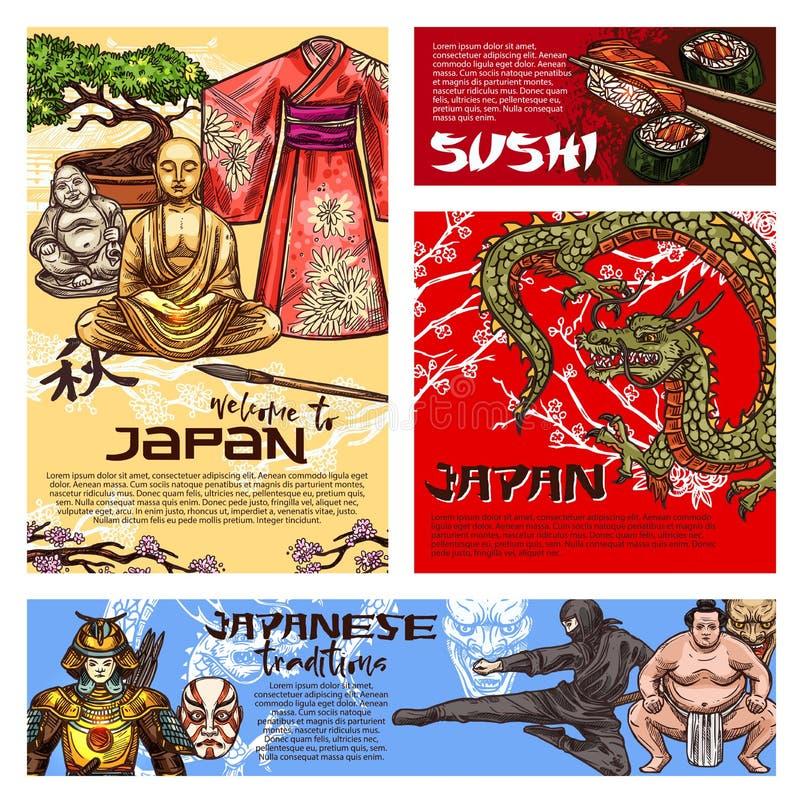 Japanese sushi, dragon, Buddha, samurai sketches. Japan travel posters with japanese culture symbols. Buddha statue, dragon and pagoda temple, sushi, bonsai and royalty free illustration