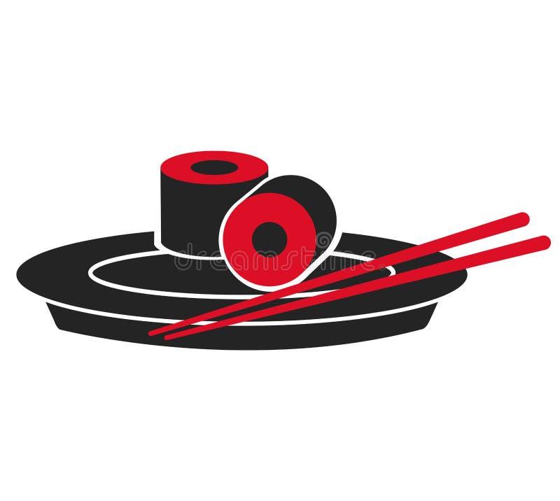 Japanese sushi fish plate food. Vector illustration eps 10 royalty free illustration