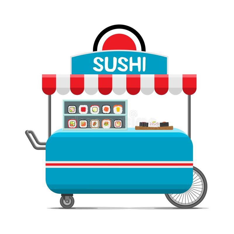 Japanese sushi food cart. Colorful vector image vector illustration