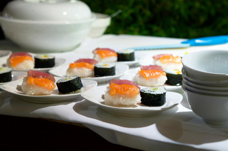 Download Japanese sushi stock photo. Image of catering, flower - 40180838