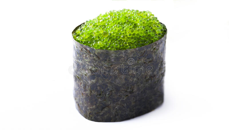 sushi with green caviar stock photography