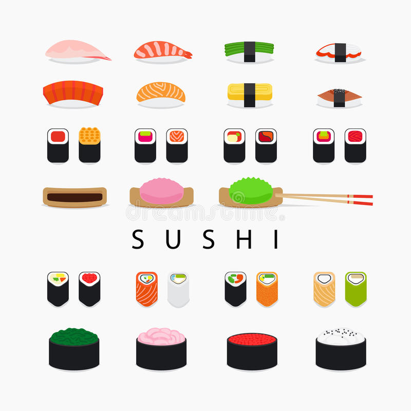 Japanese sushi icons vector illustration