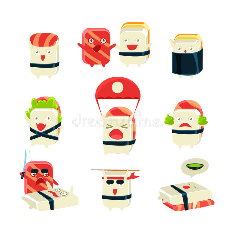 Japanese Sushi Man Different Activities. Set Of Silly Childish Drawings Isolated On White Background. Funny Creature Colorful Vector Stickers Set royalty free illustration