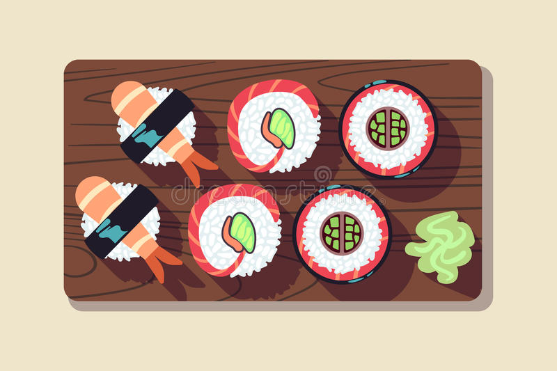 Japanese sushi over a plate vector illustration stock illustration