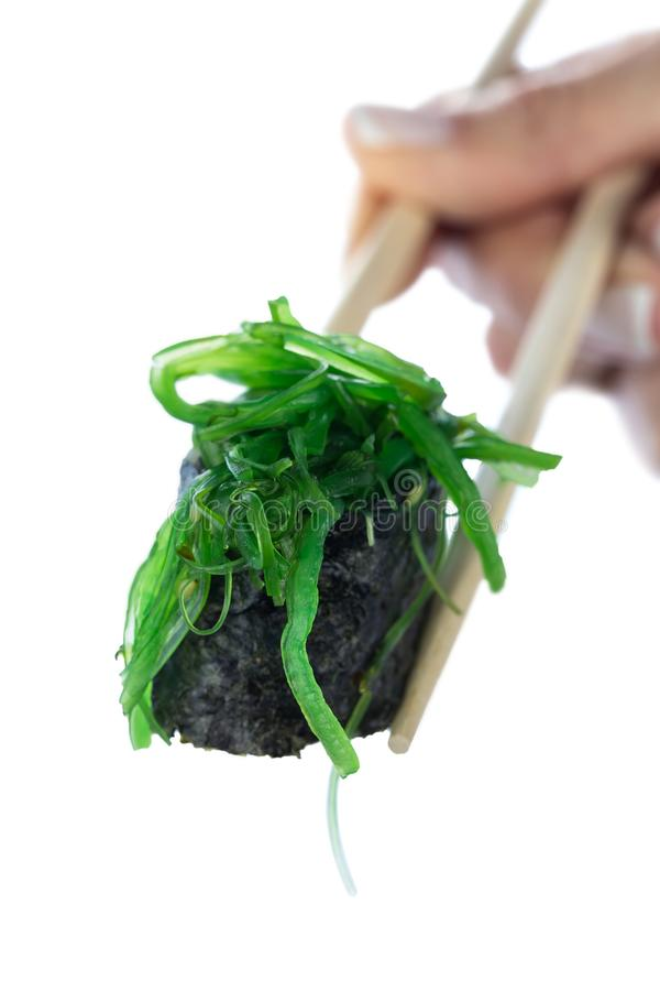 Japanese sushi roll with seaweed chukka on sticks in female hand isolated on white background. Healthy diet. stock image