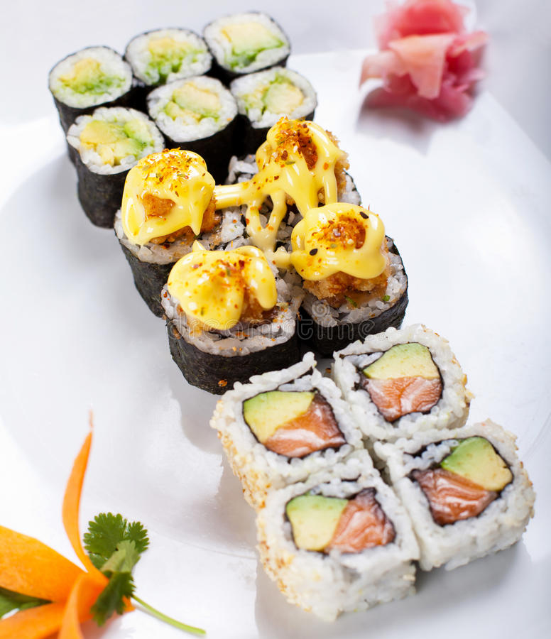 Download Japanese sushi rolls stock image. Image of plate, bamboo - 26367661