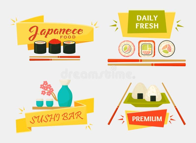 Japanese sushi and rolls, wooden chopsticks stock illustration