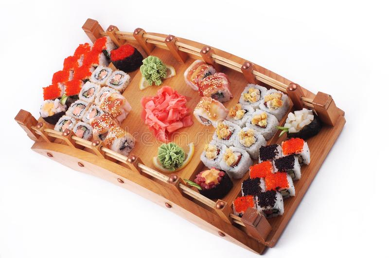 Japanese sushi set and sashimi stock image