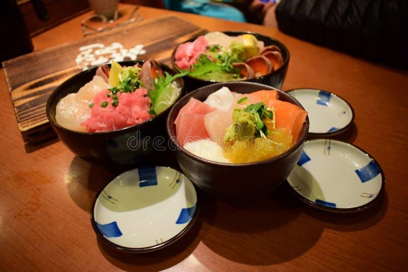 Japanese Sushi set, Sashimi, 2018 New. Japanese Sushi set, Sashimi with very fresh fishes. Ate in Japan stock photos