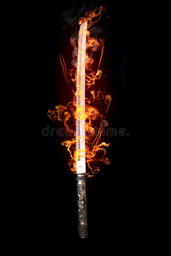 Download Japanese sword in flames stock illustration. Illustration of asian - 21910443