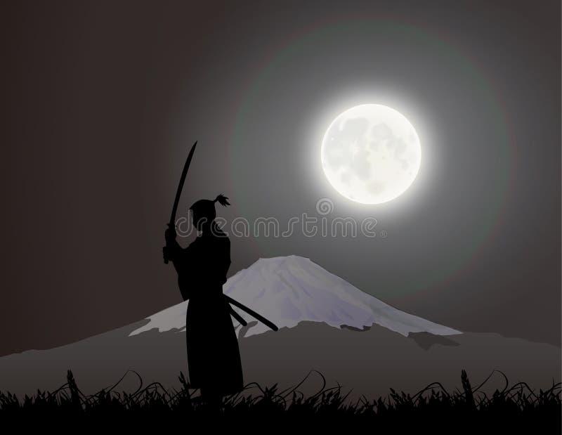 A Japanese swordsman, under the Fujiyama.  stock illustration