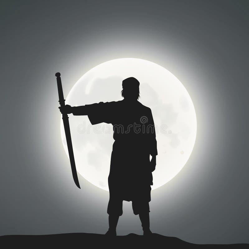 A Japanese Swordsman Under The Moonlight.  stock illustration